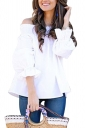 Womens Sexy Off Shoulder Puff Sleeve Back Bow Loose Blouse White