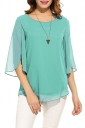Womens Casual 3/4 Sleeve Crew Neck Loose Pullover Chiffon Blouse Blue