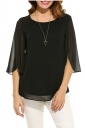 Womens Casual 3/4 Sleeve Crew Neck Loose Pullover Chiffon Blouse Black
