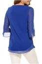 Womens Casual 3/4 Sleeve Crew Neck Loose Chiffon Blouse Sapphire Blue