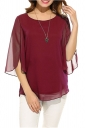 Womens Casual 3/4 Sleeve Crew Neck Loose Pullover Chiffon Blouse Ruby