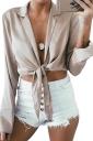 Womens Sexy Lapel V Neck Long Sleeve Tie Chiffon Blouse Apricot