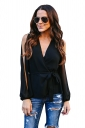 Womens Sexy V Neck Slit Sleeve Waist Tie Wrap Chiffon Blouse Black