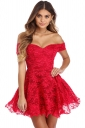 Womens Off Shoulder Strapless Plain Mini Party Lace Skater Dress Red