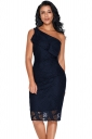 Womens One Shoulder Ruffle Hem Laser Cut Bodycon Midi Dress Navy Blue