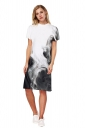 Womens Oversized Short Sleeve Side Slit Printed Dress Gray