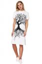 Womens Oversized Short Sleeve Side Slit Tree Printed Dress White