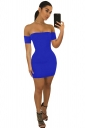 Womens Sexy Off Shoulder Back Cross Lace Up Club Dress Sapphire Blue