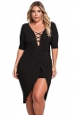 Womens Deep V Neck Half Sleeve Slit Plus Size Plain Midi Dress Black
