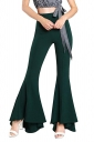 Womens Close-Fitting High Waisted Wide Leg Bell Pants Army Green