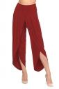 Womens Stylish Ruffle Split High Waisted Asymmetric Hem Pants Red