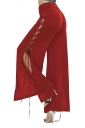Womens Lace Up Eyelet Side Slit Wide Leg High Waisted Pants Red