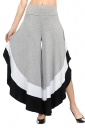 Womens Stylish Color Block High Waisted Wide Leg Leisure Pants Gray