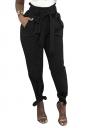 Womens Trendy Belted Ankle Tie High Waist Pants Black