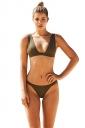 Womens Sexy V Neck Tank Top&High Waist Bottom Plain Bikini Army Green