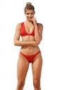 Womens Sexy V Neck Tank Top&High Waist Bottom Plain Bikini Set Red