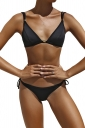 Womens Sexy Back Lace Up Top&String Swimwear Bottom Plain Bikini Black