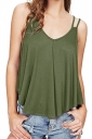 Womens Sexy V Neck Asymmetrical Hem Loose Plain Tank Top Army Green