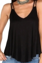 Womens Sexy V Neck Asymmetrical Hem Loose Plain Slip Tank Top Black