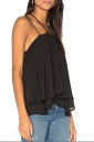 Womens Sexy Halter Layer Hem Loose Plain Slip Tank Top Black