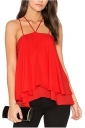 Womens Sexy Halter Layer Hem Spaghetti Straps Loose Plain Tank Top Red