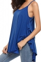 Womens Sexy Spaghetti Straps High Low Loose Plain Slip Tank Top Blue