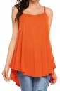 Womens Sexy Spaghetti Straps High Low Loose Plain Slip Tank Top Orange