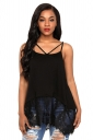 Womens Casual Sheer Splicing Backless Strappy Tank Top Black