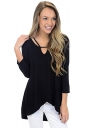 Womens Sexy High Low V Neck Cut Out Long Sleeve Plain Top Black
