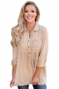 Womens Washed Button-Up Babydoll High Low Ruffle Top Apricot