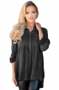 Womens Washed Button-Up Babydoll High Low Ruffle Top Black