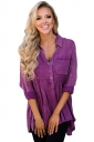 Womens Washed Button-Up Babydoll High Low Ruffle Top Purple