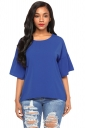 Womens Casual Short Bell Sleeve Curved High Low Blouse Sapphire Blue
