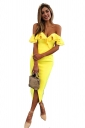 Womens Sexy Ruffle Shoulder Front Slit Bodycon Tube Dress Yellow