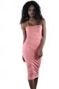 Womens Sexy Backless Bodycon Midi Spaghetti Strap Tank Dress Pink
