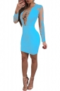 Criss Cross Deep V Long Sleeve Lace Mesh Plain Club Dress Light Blue
