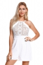 Sexy Halter Sleeveless Lace Patchwork Zipper Plain Romper White