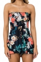 Sexy Strapless Shirred Flora Print Tube Romper Black