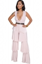 Deep V Neck Sleeveless Ruffle Wide Legs Loose Plain Club Jumpsuit Pink