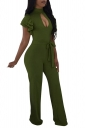 Cut Out Front Ruffle Sleeve Waist Tie Wide Legs Jumpsuit Olive Green