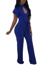 Cut Out Front Ruffle Sleeve Waist Tie Wide Legs Jumpsuit Sapphire Blue