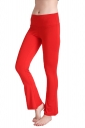 Womens Close-Fitting High Waisted Wide Leg Plain Bell Pants Red