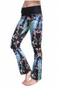 Womens Close-Fitting High Waisted Wide Leg Floral Bell Pants Turquoise