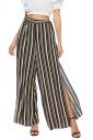 Elastic Waist Wide Legs High Split Stripe Loose Leisure Pants Brown