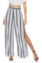 Elastic Waist Wide Legs High Split Stripe Loose Leisure Pants Gray