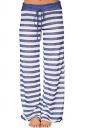 Drawstring Waist Wide Legs Stripe Loose Leisure Pants Light Blue