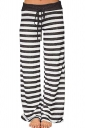 Drawstring Waist Wide Legs Stripe Loose Leisure Pants Light Black
