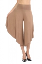 High Waist Wide Legs Asymmetrical Hem Leisure Capri Pants Apricot
