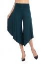 High Waist Wide Legs Asymmetrical Hem Leisure Capri Pants Dark Green