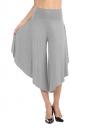 High Waist Wide Legs Asymmetrical Hem Plain Leisure Capri Pants Gray